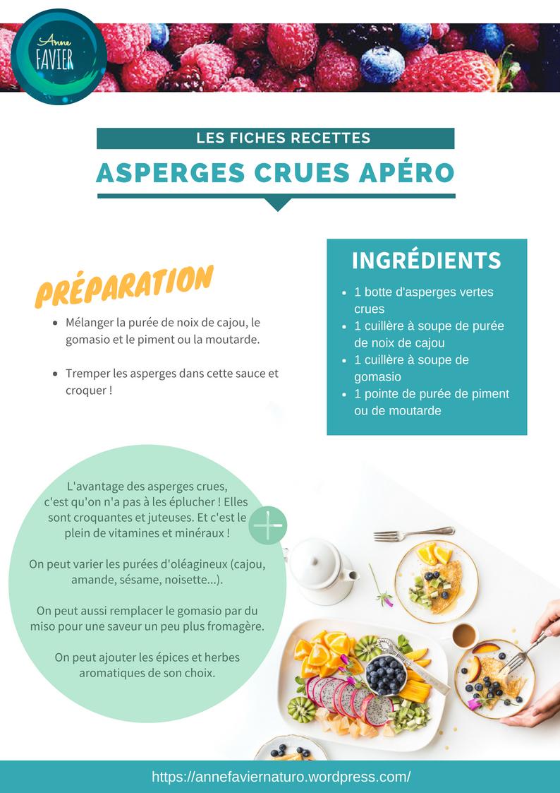 Les fiches recettes : asperges crues apéro