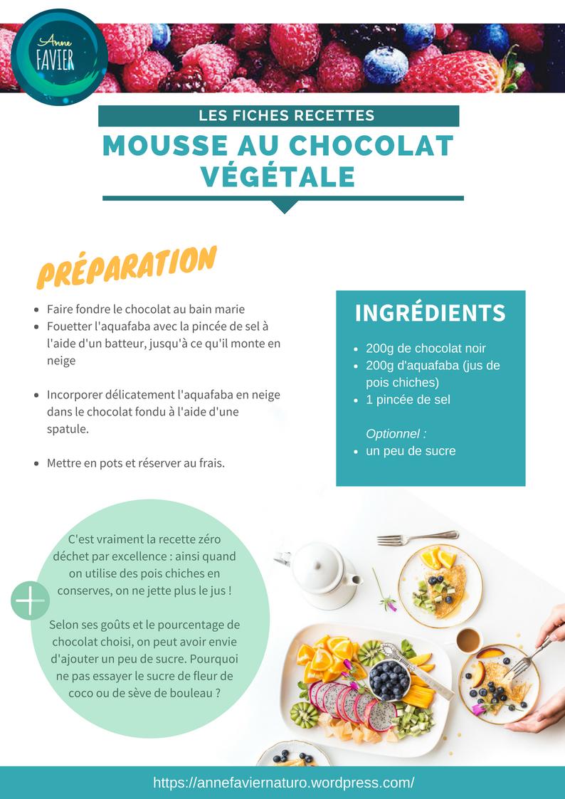 Les fiches recettes : mousse au chocolat végétale