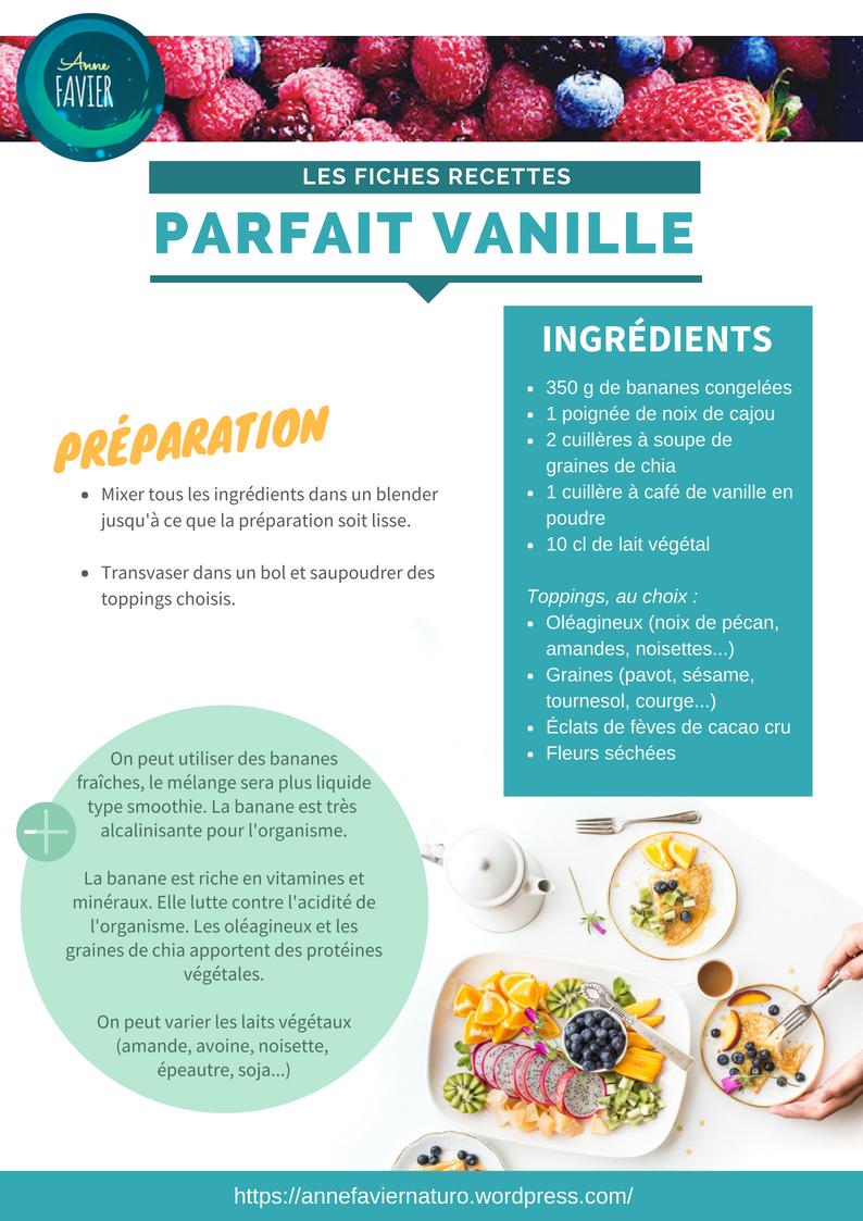 Les fiches recettes : parfait vanille