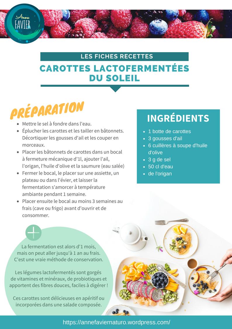Les fiches recettes : carottes lactofermentées du soleil