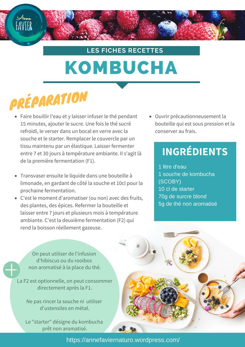Les Fiches recettes : Kombucha / Anne Favier Naturopathie